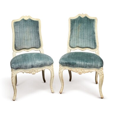 A MATCHED PAIR OF FRENCH REGENCE WHITE-PAINTED CHAISES A LA REINE, CIRCA 1725