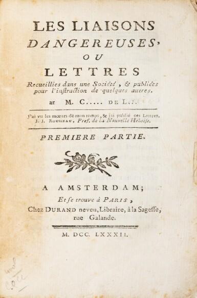 View 2. Thumbnail of Lot 8. Les Liaisons dangereuses. [Paris], 1782. 4 vol. in-12. Broché..