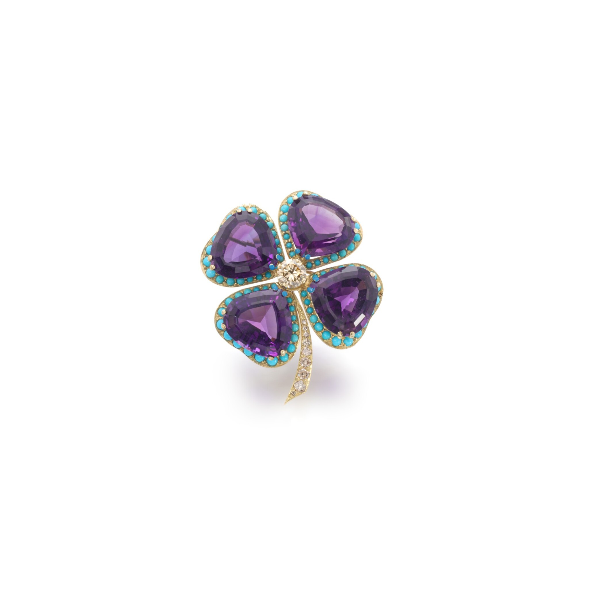 View full screen - View 1 of Lot 43. Amethyst, turquoise and diamond brooch.