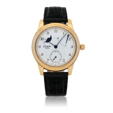 GLASHÜTTE ORIGINAL  | 1845 CLASSIC   YELLOW GOLD WRISTWATCH WITH MOON PHASES AND POWER-RESERVE INDICATION   CIRCA 2005