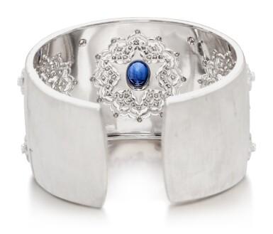 View 3. Thumbnail of Lot 1602. MARIO BUCCELLATI   SAPPHIRE AND DIAMOND CUFF-BRACELET   馬里奧 布契拉提   藍寶石 配 鑽石 手鐲.