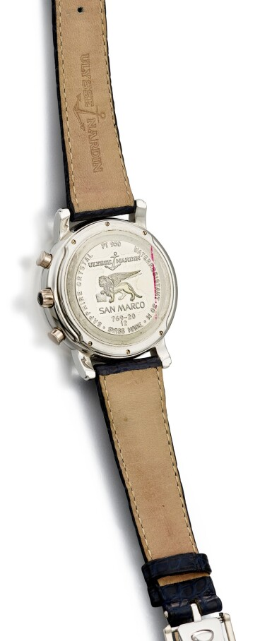 View 3. Thumbnail of Lot 104. ULYSSE NARDIN   SAN MARCO, REFERENCE 769-20, A PLATINUM HOUR REPEATING AND HALF HOUR STRIKING WRISTWATCH WITH EROTIC AUTOMATON AND MOTHER-OF-PEARL DIAL, CIRCA 1998.