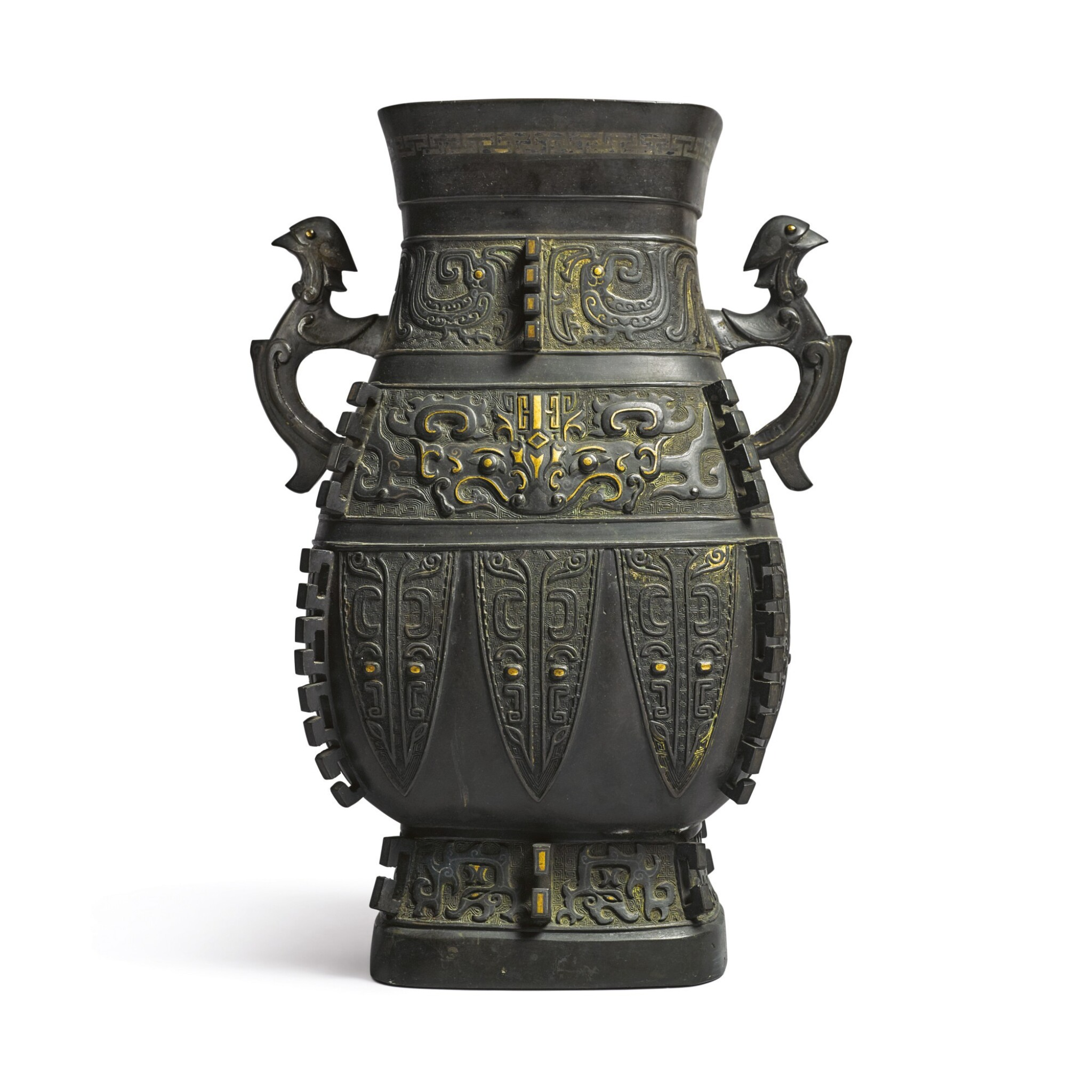 View full screen - View 1 of Lot 621. AN ARCHAISTIC PARCEL-GILT SILVER-INLAID BRONZE VESSEL (HU),  QING DYNASTY, 18TH CENTURY.