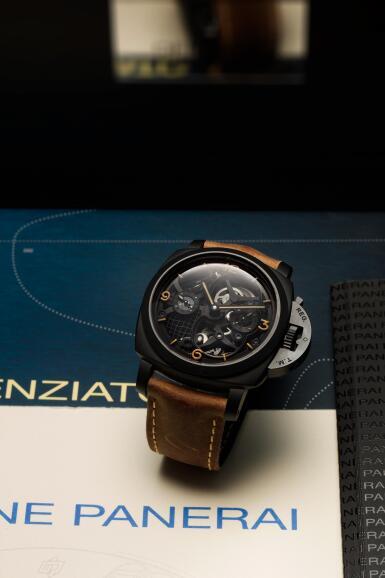 View 7. Thumbnail of Lot 311. Reference PAM00528 Luminor 1950 Tourbillon GMT  A limited edition black ceramic and titanium skeletonized tourbillon dual time wristwatch, Circa 2014.