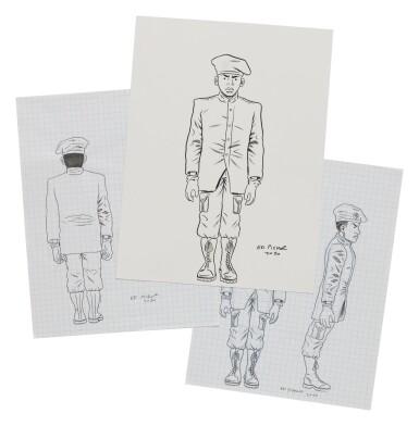 View 5. Thumbnail of Lot 41. ED PISKOR | Original artwork & designs for Public Enemy action figures, w/ original set of action figures.