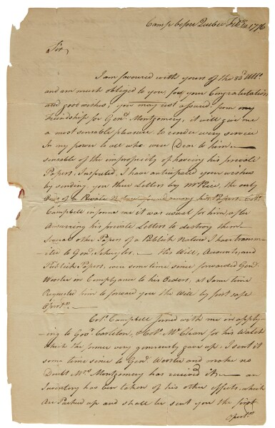 Arnold, Benedict. Autograph letter signed, to Robert R. Livingston, 10 February 1776