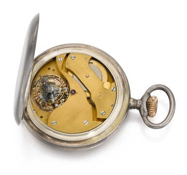 View 3. Thumbnail of Lot 623. A LARGE AND EXCEPTIONALLY RARE SILVER OPEN-FACED KEYLESS WATCH THE LONGINES MOVEMENT LATER MODIFIED TO INCORPORATE A ONE MINUTE FLYING TOURBILLON WITH SPRING DETENT CHRONOMETER ESCAPEMENT ORIGINALLY RETAILED BY HERPY ARNOLD, BUDAPEST, 1925, NO.4190747 [ 罕有大型銀懷錶,浪琴機芯加裝一分鐘飛行陀飛輪連彈簧鎖止式天文鐘擒縱系統 ,原零售商為布達佩斯HERPY ARNOLD,年份約1925,編號4190747].