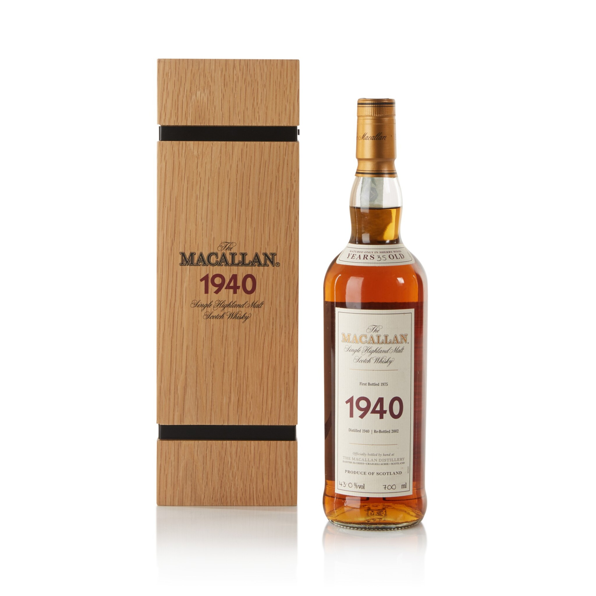 View full screen - View 1 of Lot 41. The Macallan Fine & Rare 35 Year Old 43.0 abv 1940 .