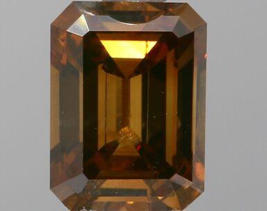 A 0.83 Carat Fancy Dark Orangy Brown Emerald-Cut Diamond, I1 Clarity