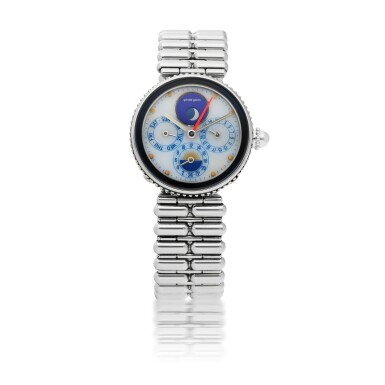 GERALD GENTA  | GEFICA, REF G27967   STAINLESS STEEL AND LAPIS LAZULI DUAL TIME WRISTWATCH WITH DAY, DATE, MOON PHASES, DAY/NIGHT INDICATION AND BRACELET   CIRCA 2000
