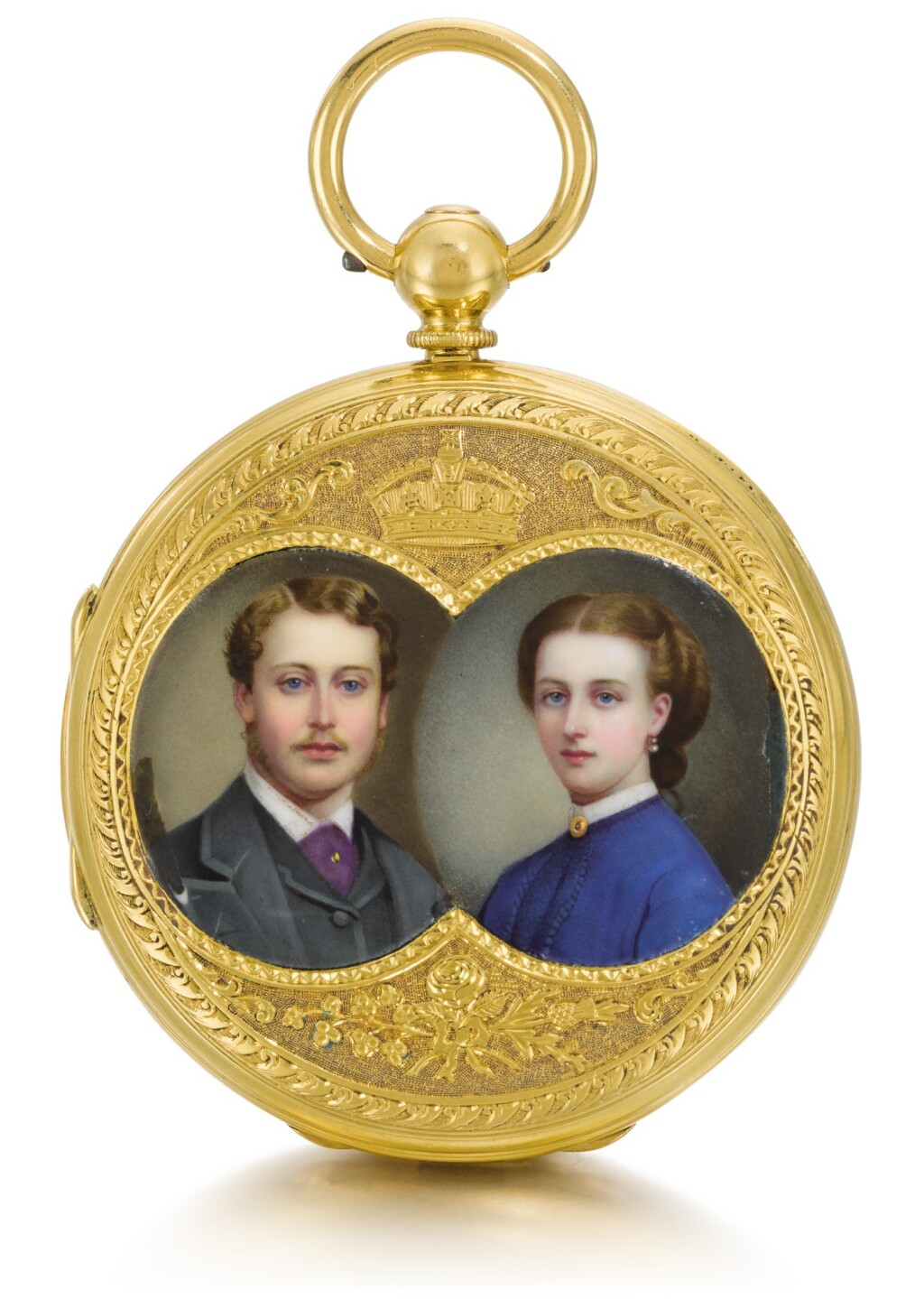 JAMES MCCABE, LONDON | A VERY FINE AND HISTORICALLY INTERESTING 22CT GOLD DUPLEX CLOCK WATCH MADE TO CELEBRATE THE 1863 MARRIAGE OF H.R.H. ALBERT EDWARD, PRINCE OF WALES TO PRINCESS ALEXANDRA OF DENMARK  1864