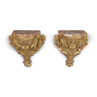 View 1. Thumbnail of Lot 717. A PAIR OF RÉGENCE GILTWOOD BRACKETS, EARLY 18TH CENTURY.