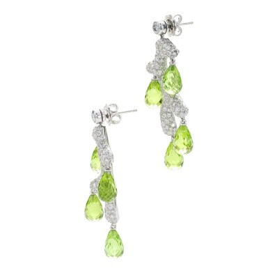 View 3. Thumbnail of Lot 34. MICHELE DELLA VALLE | PAIR OF PERIDOT AND DIAMOND EARRINGS .