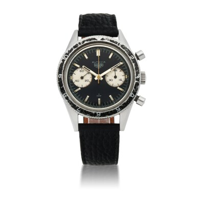 View 1. Thumbnail of Lot 1156. HEUER |  'MARIO ANDRETTI' AUTAVIA, REF 3646   STAINLESS STEEL CHRONOGRAPH WRISTWATCH MADE FOR THE ARGENTINIAN AIR FORCE   CIRCA 1965.