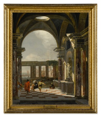 View 2. Thumbnail of Lot 637. Architectural interior with foreign shippers, ruins and a shipyard beyond .