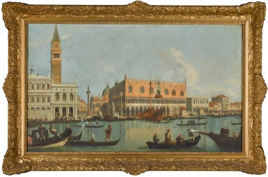 View 2. Thumbnail of Lot 180. FOLLOWER OF GIOVANNI ANTONIO CANAL, CALLED IL CANALETTO | Venice, a view of the Bacino Di San Marco, looking east, with the Zecca, the Liberia, the Piazzetta and the Palazzo Ducale.