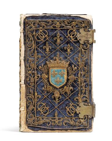 View 12. Thumbnail of Lot 40.  Horae beatissimae... Anvers, 1570.Reliure brodée de la Renaissance aux armes du duc d'Anjou..