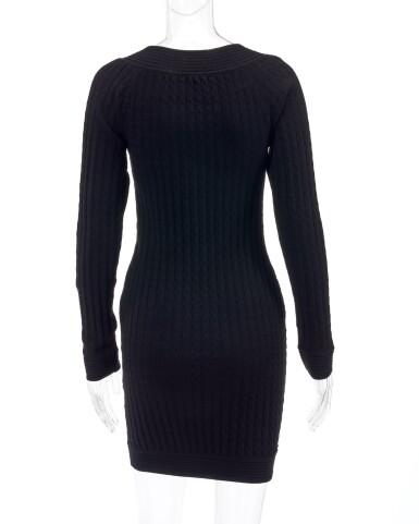 View 3. Thumbnail of Lot 157. Black wool-blend mini dress.