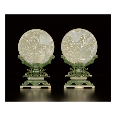 View 1. Thumbnail of Lot 655.  A PAIR OF CELADON JADE TABLE SCREENS WITH STANDS, QING DYNASTY.
