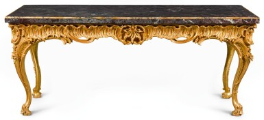 A GEORGE III CARVED GILTWOOD SIDE TABLE, CIRCA 1760