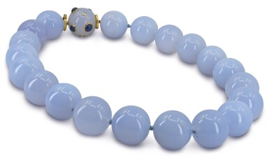 View 3. Thumbnail of Lot 42. SEAMAN SCHEPPS | CHALCEDONY, SAPPHIRE AND DIAMOND NECKLACE.