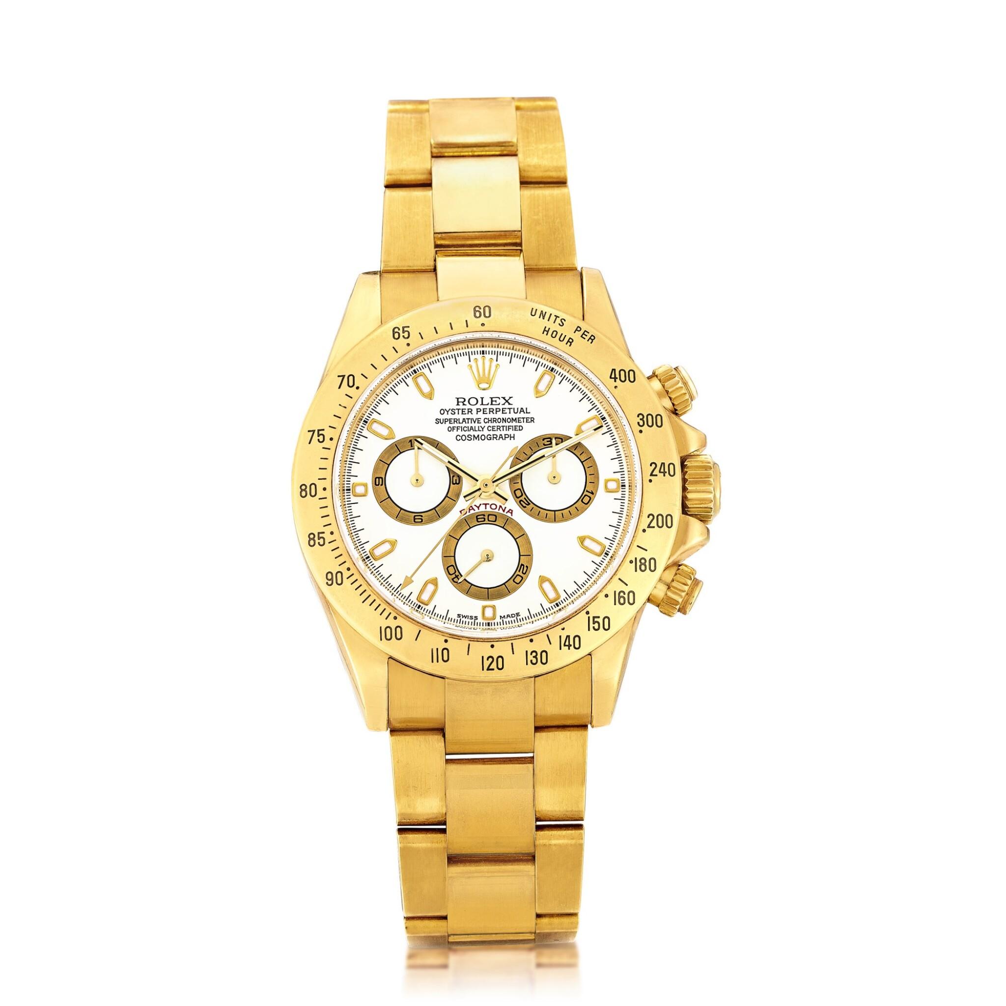 View full screen - View 1 of Lot 2150. Rolex | Cosmograph Daytona, Reference 116528, A yellow gold chronograph wristwatch with bracelet, Circa 2000 | 勞力士 | Cosmograph Daytona 型號116528  黃金計時鏈帶腕錶,約2000年製.