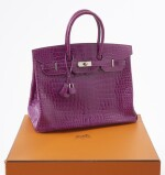 Shiny purple porosus crocodile and palladium hardware handbag, Birkin 35, Hermès, 2007