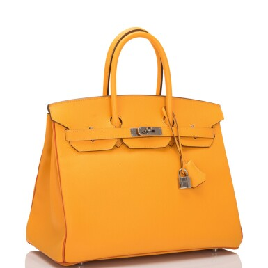 View 2. Thumbnail of Lot 15. Hermès Horseshoe Stamped (HSS) Bi-color Jaune D'Or and Sanguine Birkin 35cm of Epsom Leather with Palladium Hardware.