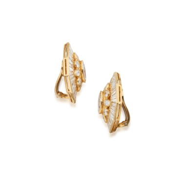 View 2. Thumbnail of Lot 49. Pair of Diamond Earclips.