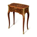 LOUIS XV GILT BRONZE-MOUNTED KINGWOOD, TULIPWOOD AND FRUITWOOD MARQUETRY AND PARQUETRY TABLE À ÉCRIRE IN THE MANNER OF GILLES JOUBERT, CIRCA 1765