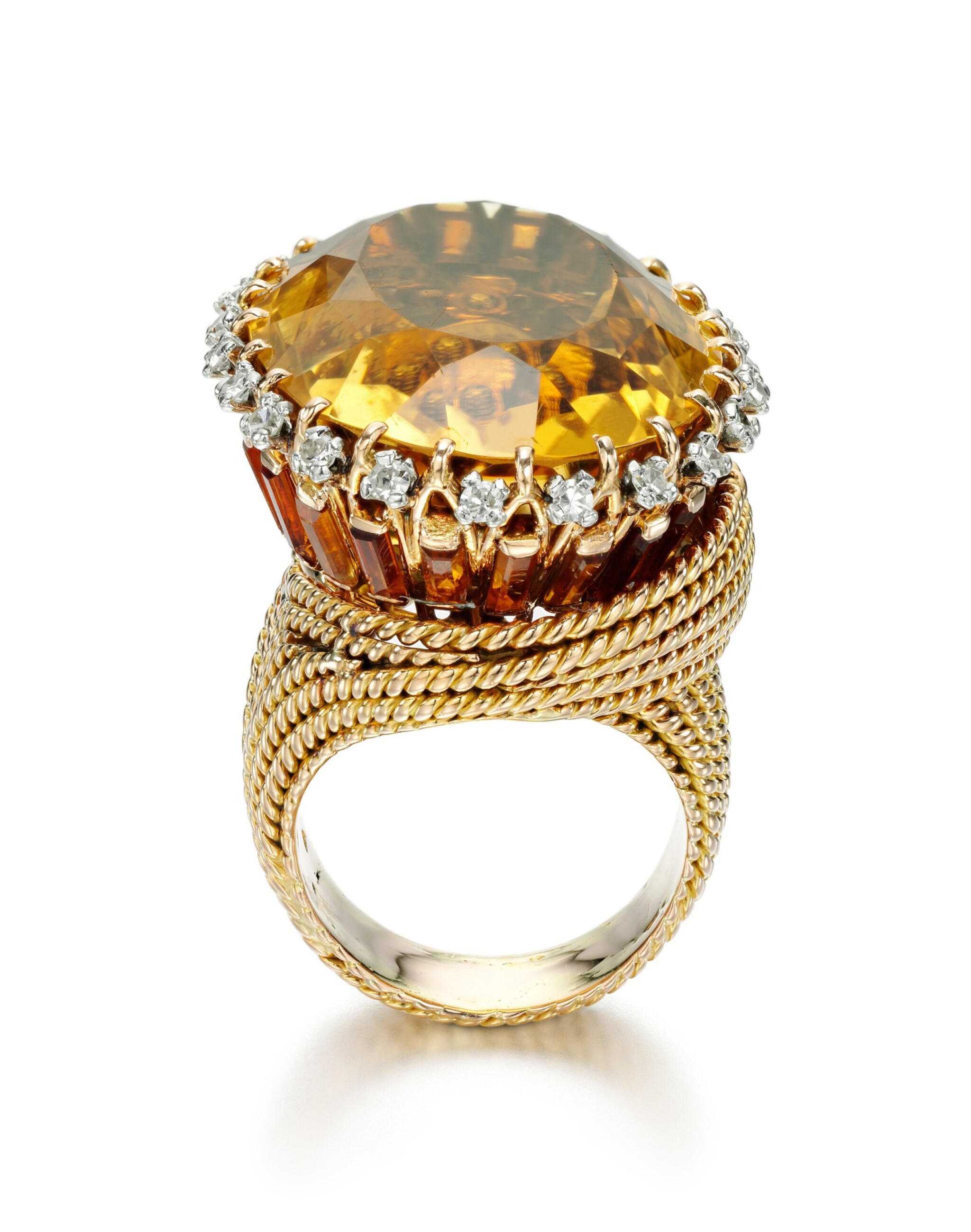 View full screen - View 1 of Lot 40. CITRINE AND DIAMOND RING | STERLÉ, 1950S.