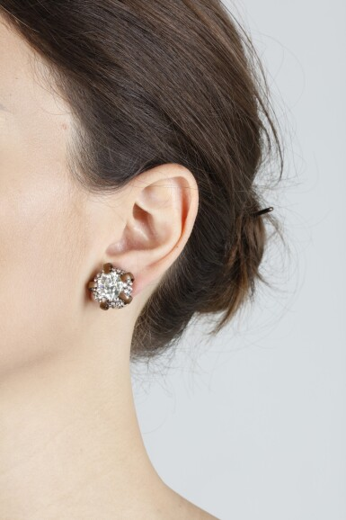 View 3. Thumbnail of Lot 305. HEMMERLE | PAIR OF DIAMOND EARRINGS.