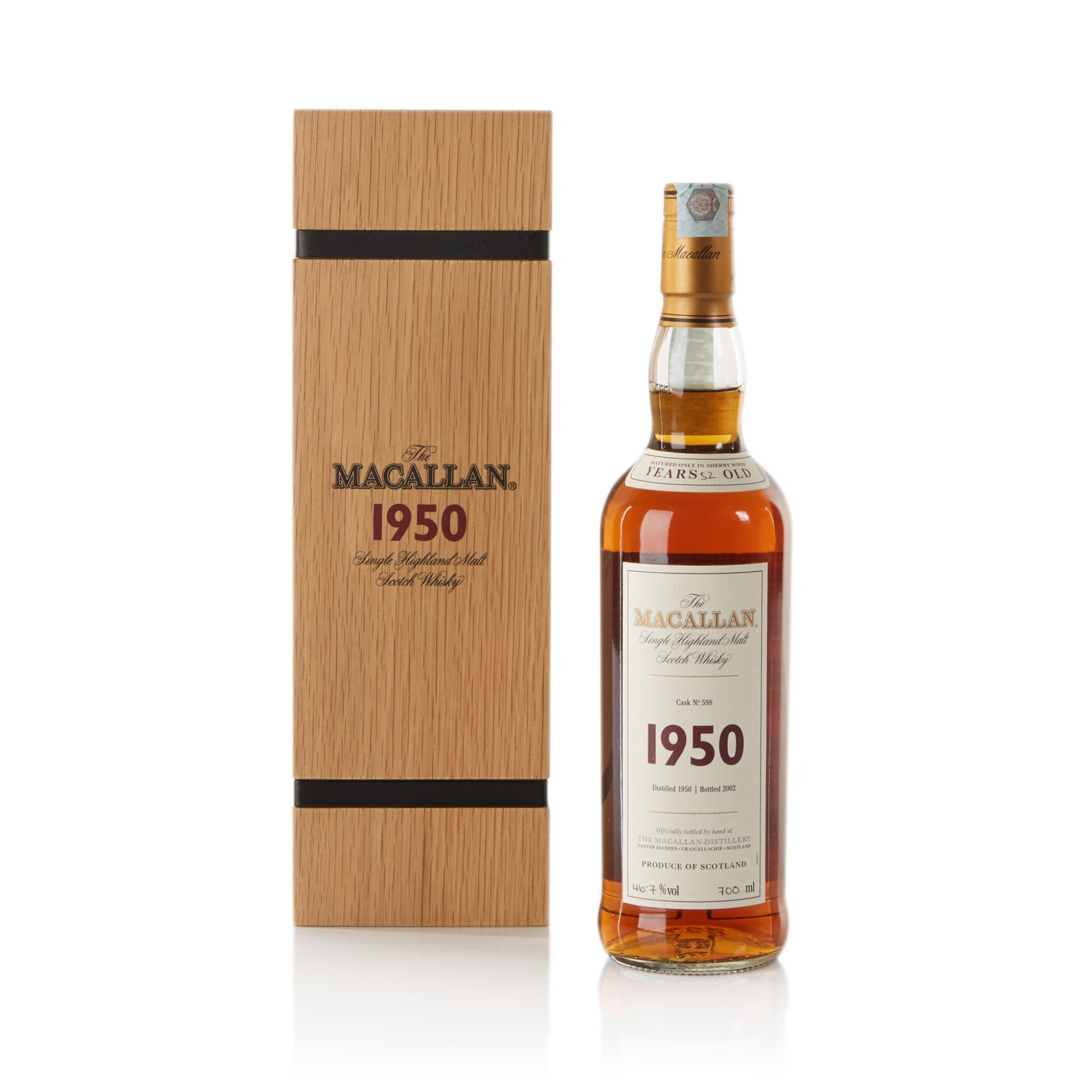 View full screen - View 1 of Lot 35. The Macallan Fine & Rare 52 Year Old 46.7 abv 1950 .