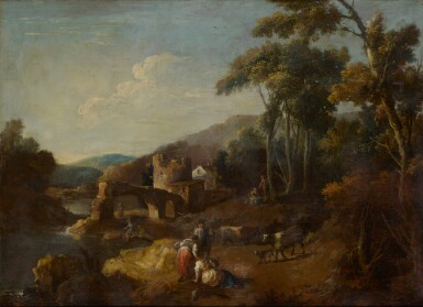 View 2. Thumbnail of Lot 98. A wooded river landscape with ruins and figures.