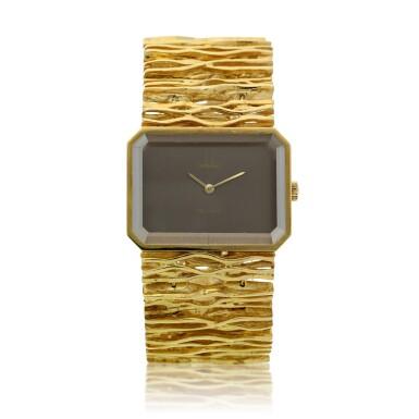 View 1. Thumbnail of Lot 65. Reference 8272 De Ville Designed by Gilbert Albert: A yellow gold rectangular bracelet watch, Circa 1965.