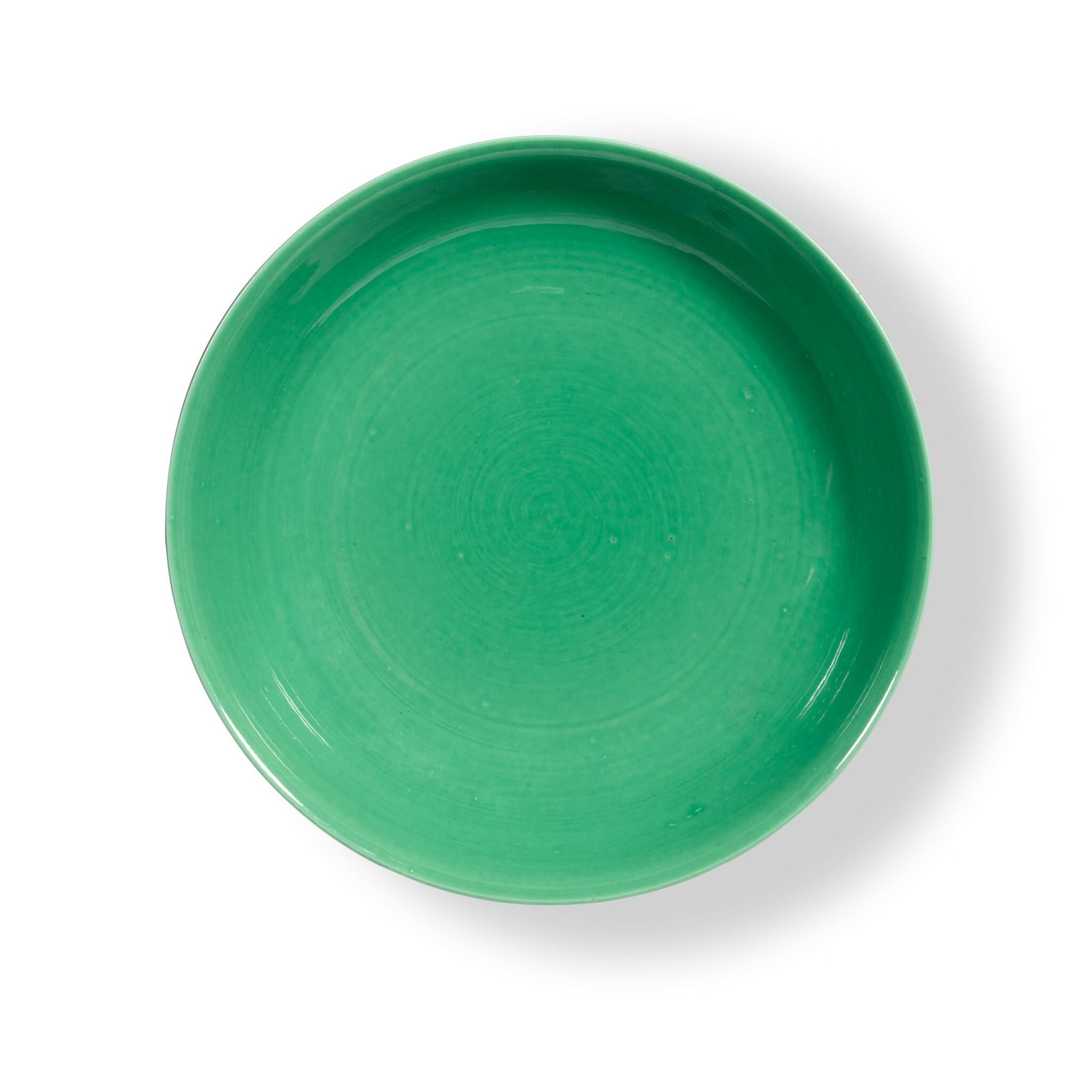 View full screen - View 1 of Lot 19. A RARE GREEN-GLAZED SAUCER DISH,  QIANLONG INCISED MARK AND PERIOD | 清乾隆 蘋果綠釉盤 《大清乾隆年製》款.