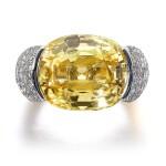 Cartier | Yellow sapphire and diamond ring, 1958 | 卡地亞 | 黃色剛玉配鑽石戒指,1958年