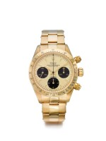 ROLEX   REFERENCE 6265/6263 DAYTONA 'R-SERIAL'  A YELLOW GOLD CHRONOGRAPH WRISTWATCH WITH REGISTERS AND BRACELET, CIRCA 1987