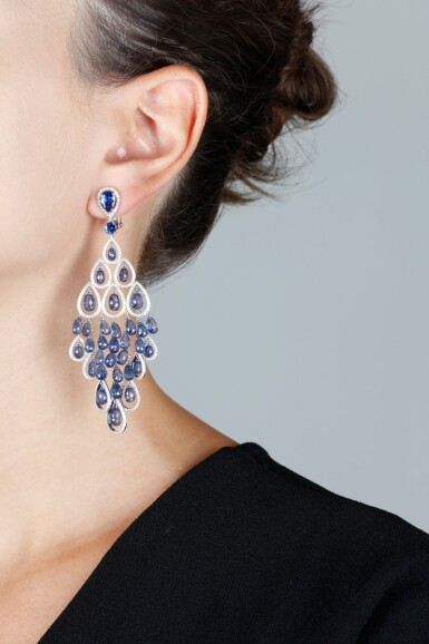 View 4. Thumbnail of Lot 88. GRAFF | PAIR OF SAPPHIRE AND DIAMOND PENDENT EARRINGS.
