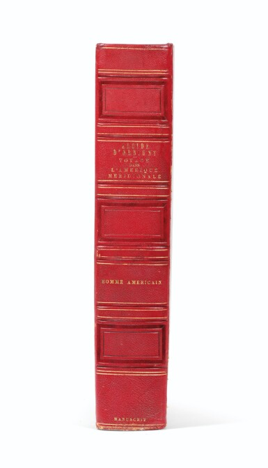View 3. Thumbnail of Lot 141. ORBIGNY. L'Homme américain. Manuscrit autographe. [Vers 1838]. Fort in-4, demi-chagrin rouge. 550 p..