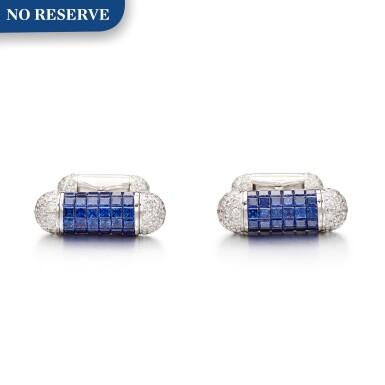 View 1. Thumbnail of Lot 1108. Pair of Sapphire and Diamond Cufflinks | 格拉夫| 藍寶石 配 鑽石 袖扣一對 (藍寶石及鑽石共重約4.70及2.30克拉).