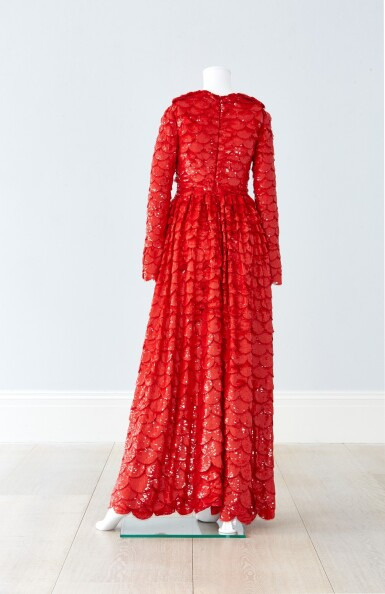 View 6. Thumbnail of Lot 34. Red Tulle Illusion Dress à merlons, Worn by Jane Fonda at the 2020 Screen Actors Guild Awards, Pre-Autumn 2019 Collection.