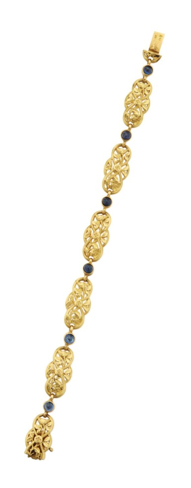 View 2. Thumbnail of Lot 47. GOLD AND SAPPHIRE BRACELET.
