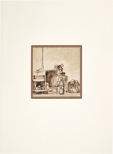 View 2. Thumbnail of Lot 215. ATTRIBUTED TO CAREL FABRITIUS |  PEASANTS GATHERED OUTSIDE A HUT.