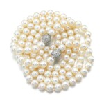 TWO CULTURED PEARL AND DIAMOND NECKLACES
