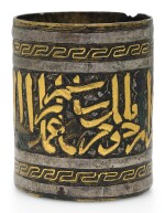 A MAMLUK GOLD AND SILVER-INLAID BRASS INKWELL, EGYPT OR SYRIA, FIRST HALF 14TH CENTURY