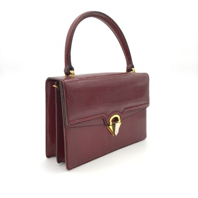 View 2. Thumbnail of Lot 725. GUCCI   BURGUNDY VINTAGE BAG IN LIZARD, c.1960s.