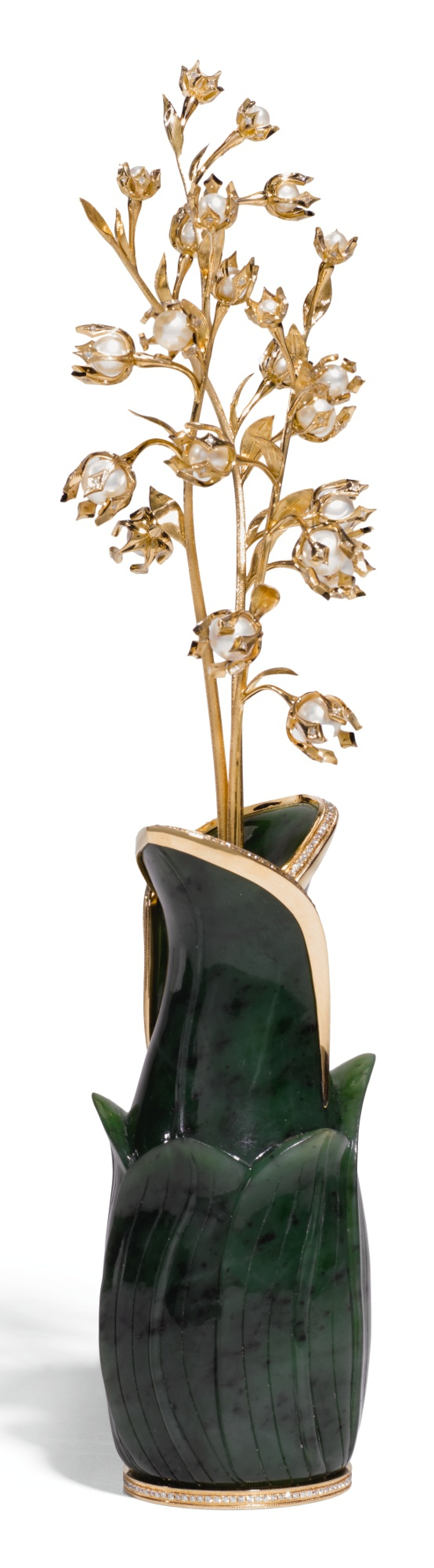 View full screen - View 1 of Lot 88. A MODERN JEWELLED 18 CT GOLD, PEARL AND NEPHRITE STUDY OF A LILY-OF THE-VALLEY.