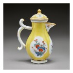 A MEISSEN YELLOW-GROUND SMALL MILK JUG AND COVER CIRCA 1730