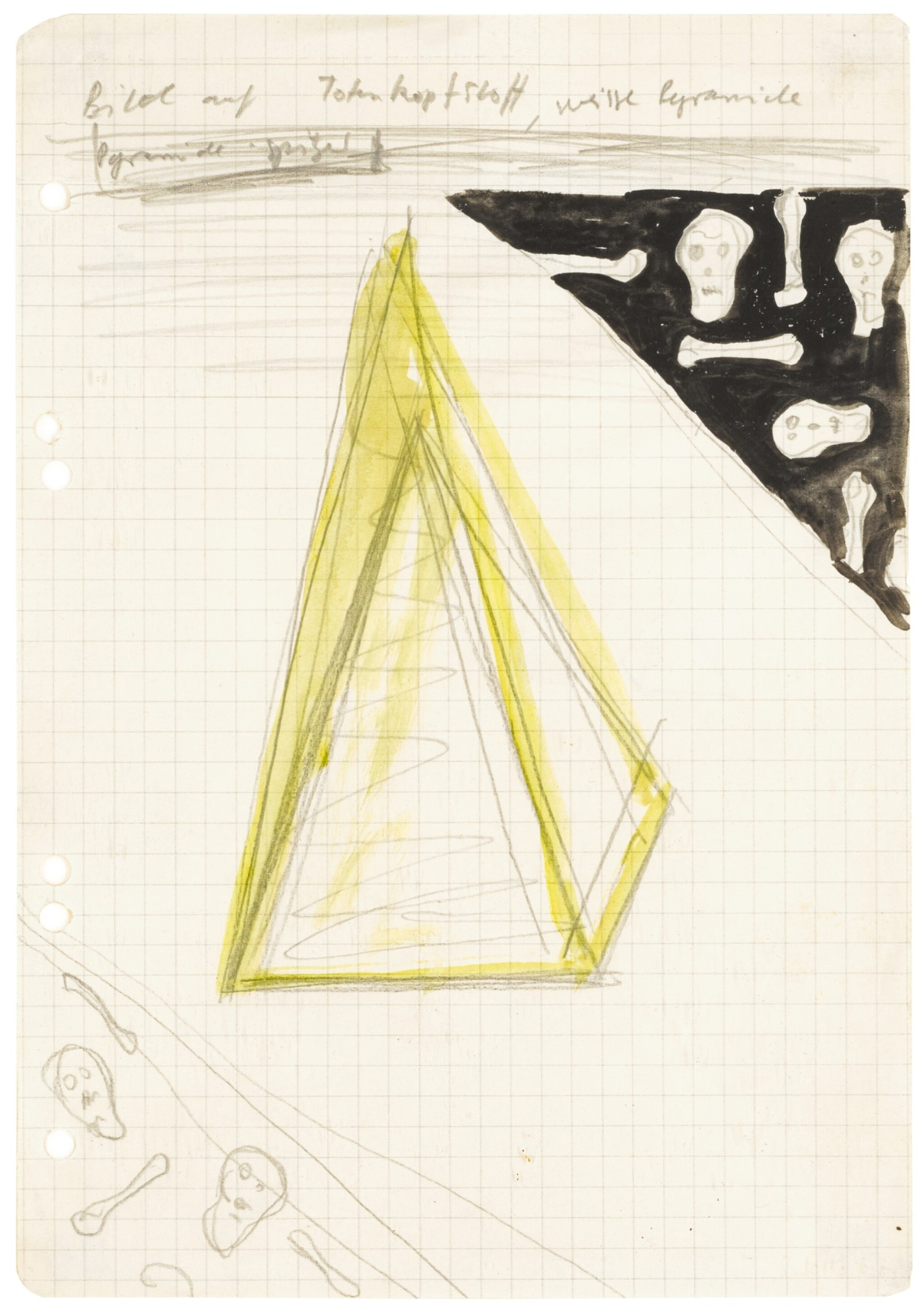 View full screen - View 1 of Lot 830. SIGMAR POLKE | BILD AUF TOTENKOPFSTOFF, WEISSE PYRAMIDE.